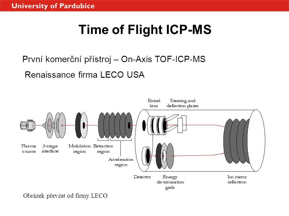 Time of Flight ICP-MS První komerční přístroj – On-Axis TOF-ICP-MS Renaissance firma LECO USA Obrázek převzat od firmy LECO