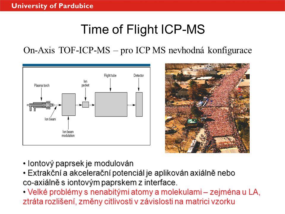 Time of Flight ICP-MS On-Axis TOF-ICP-MS – pro ICP MS nevhodná konfigurace • Iontový paprsek je modulován • Extrakční a akcelerační potenciál je aplik