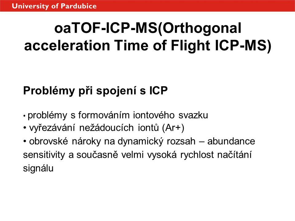 Problémy při spojení s ICP • problémy s formováním iontového svazku • vyřezávání nežádoucích iontů (Ar+) • obrovské nároky na dynamický rozsah – abund