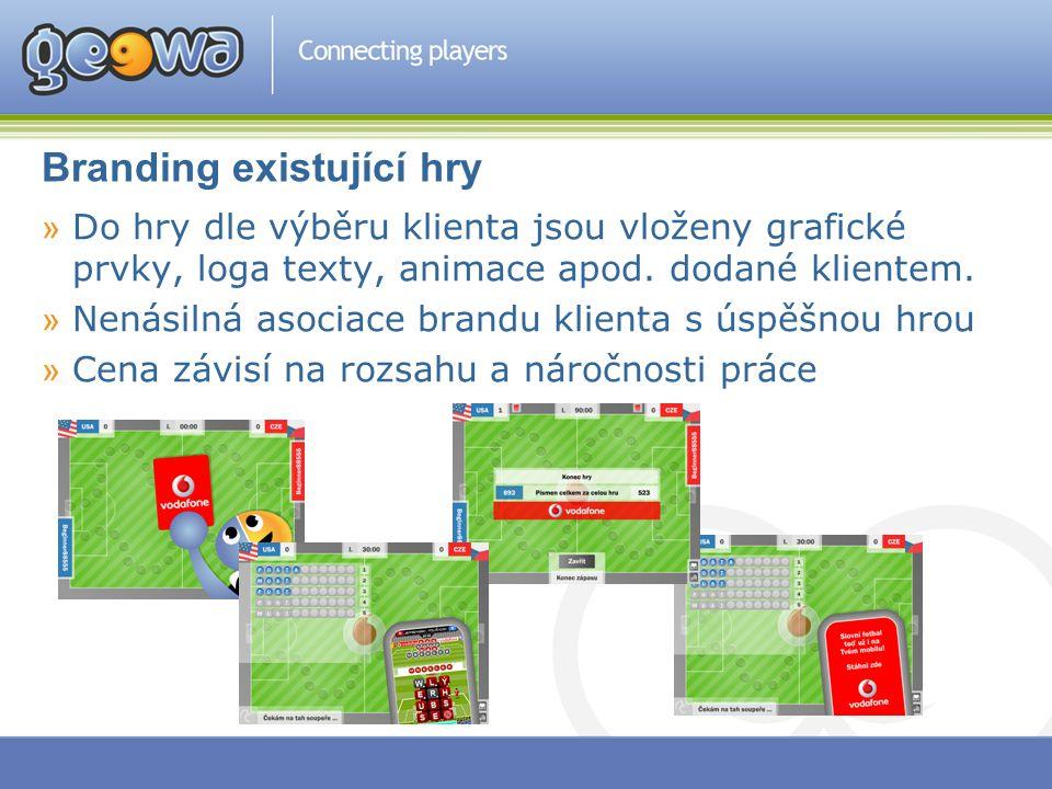 Branding existující hry »Do hry dle výběru klienta jsou vloženy grafické prvky, loga texty, animace apod. dodané klientem. »Nenásilná asociace brandu
