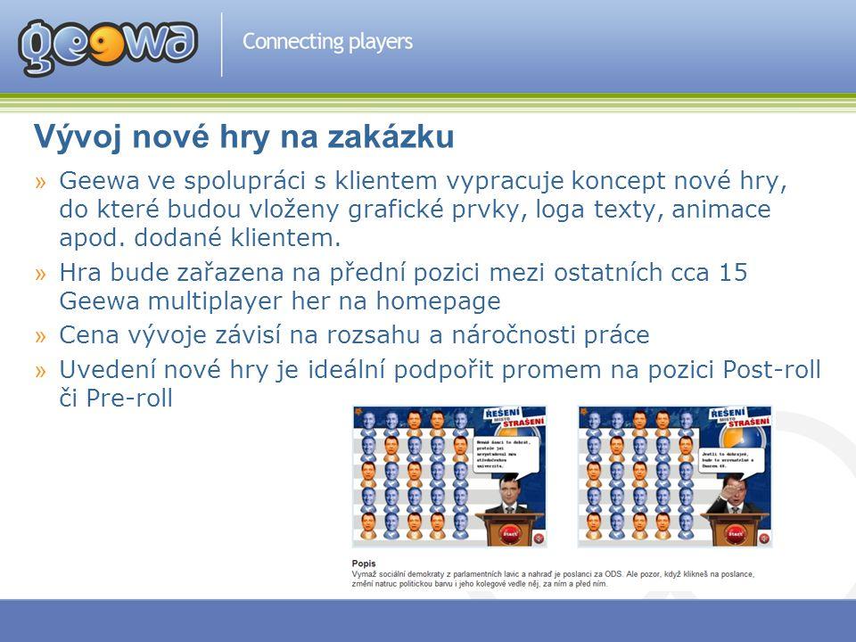 Vývoj nové hry na zakázku »Geewa ve spolupráci s klientem vypracuje koncept nové hry, do které budou vloženy grafické prvky, loga texty, animace apod.