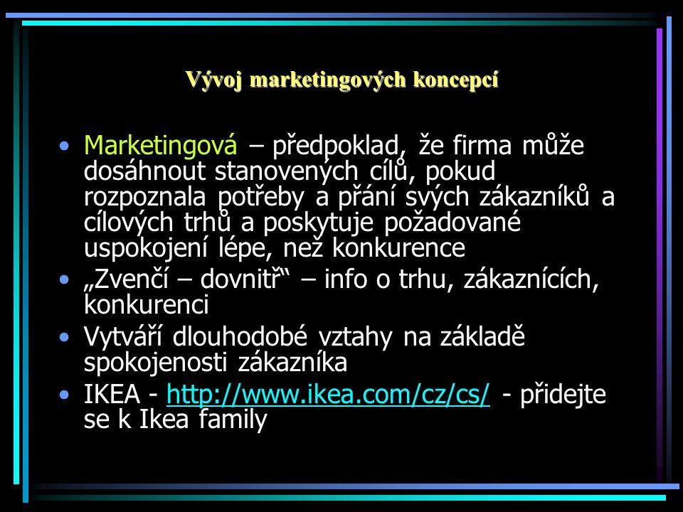 """Vývoj marketingových koncepcí •Marketingová – předpoklad, že firma může dosáhnout stanovených cílů, pokud rozpoznala potřeby a přání svých zákazníků a cílových trhů a poskytuje požadované uspokojení lépe, než konkurence •""""Zvenčí – dovnitř – info o trhu, zákaznících, konkurenci •Vytváří dlouhodobé vztahy na základě spokojenosti zákazníka •IKEA - http://www.ikea.com/cz/cs/ - přidejte se k Ikea familyhttp://www.ikea.com/cz/cs/"""