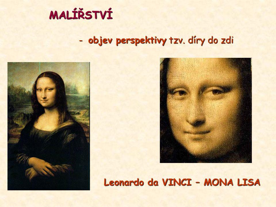 MALÍŘSTVÍ - objev perspektivy tzv. díry do zdi Leonardo da VINCI – MONA LISA