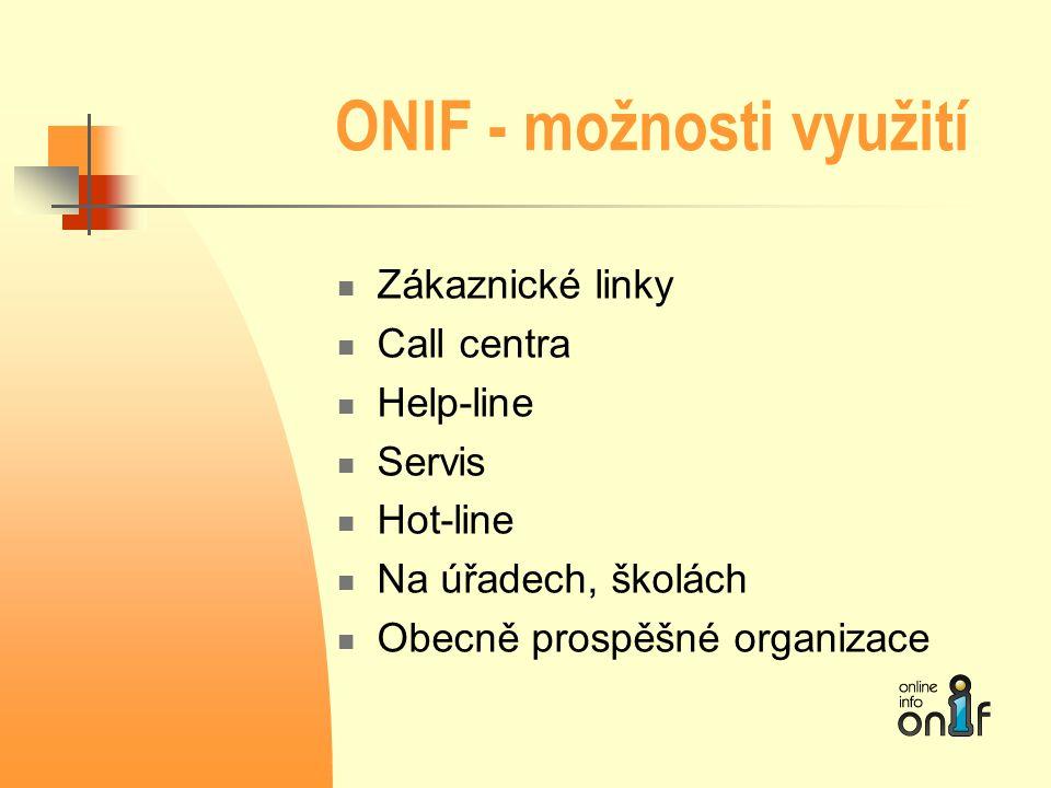ONIF - možnosti využití  Zákaznické linky  Call centra  Help-line  Servis  Hot-line  Na úřadech, školách  Obecně prospěšné organizace