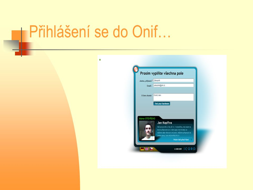 Přihlášení se do Onif…