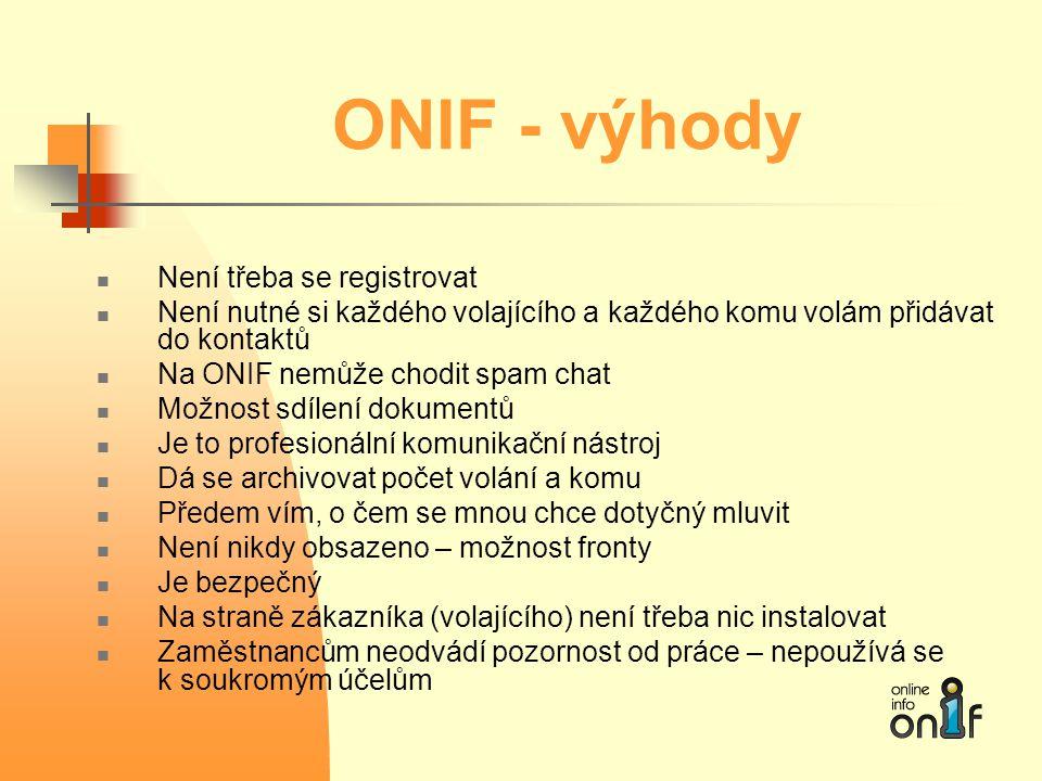 ONIF - výhody  Není třeba se registrovat  Není nutné si každého volajícího a každého komu volám přidávat do kontaktů  Na ONIF nemůže chodit spam ch