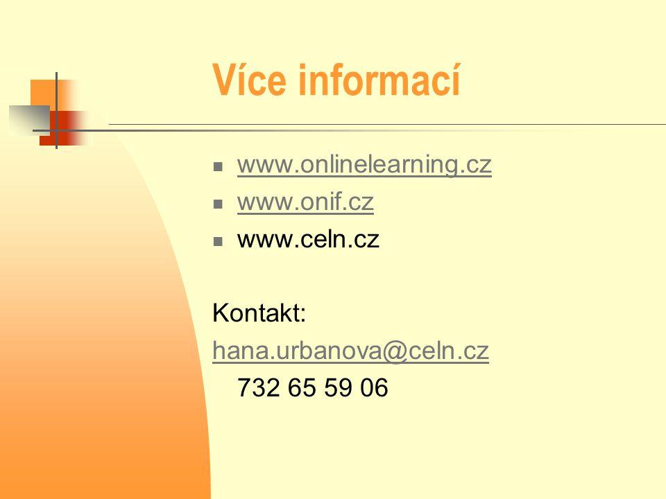 Více informací  www.onlinelearning.cz www.onlinelearning.cz  www.onif.cz www.onif.cz  www.celn.cz Kontakt: hana.urbanova@celn.cz 732 65 59 06