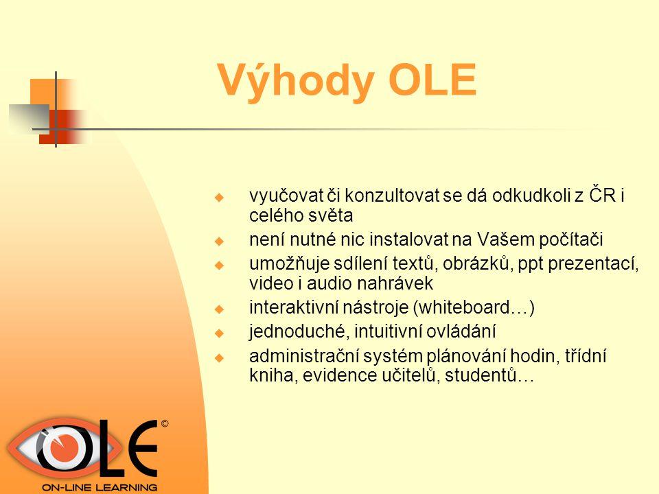 Jak OLE funguje v praxi  učitel vytvoří virtuální třídu ze studentů se stejným zájmem o výuku (1 -6 studentů)  učitel naplánuje vyučovací hodinu, nebo blok vyučovacích hodin  studenti i učitel se v danou hodinu připojí k internetu a přihlásí se na www.onlinelearning.cz  dále spolu komunikují přes web kameru, sluchátka a mikrofon, chat  využívají interaktivních nástrojů  vedou plnohodnotnou výuku