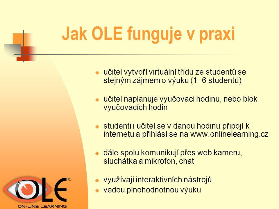 Jak OLE funguje v praxi  učitel vytvoří virtuální třídu ze studentů se stejným zájmem o výuku (1 -6 studentů)  učitel naplánuje vyučovací hodinu, ne
