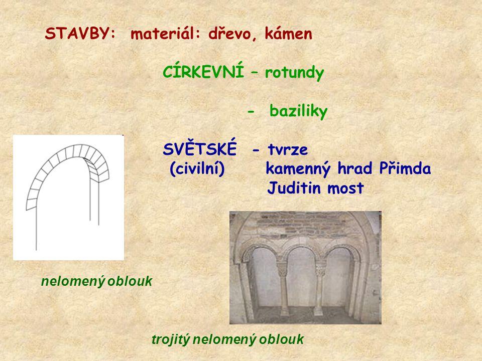 STAVBY: materiál: dřevo, kámen CÍRKEVNÍ – rotundy - baziliky SVĚTSKÉ - tvrze (civilní) kamenný hrad Přimda Juditin most nelomený oblouk trojitý nelome