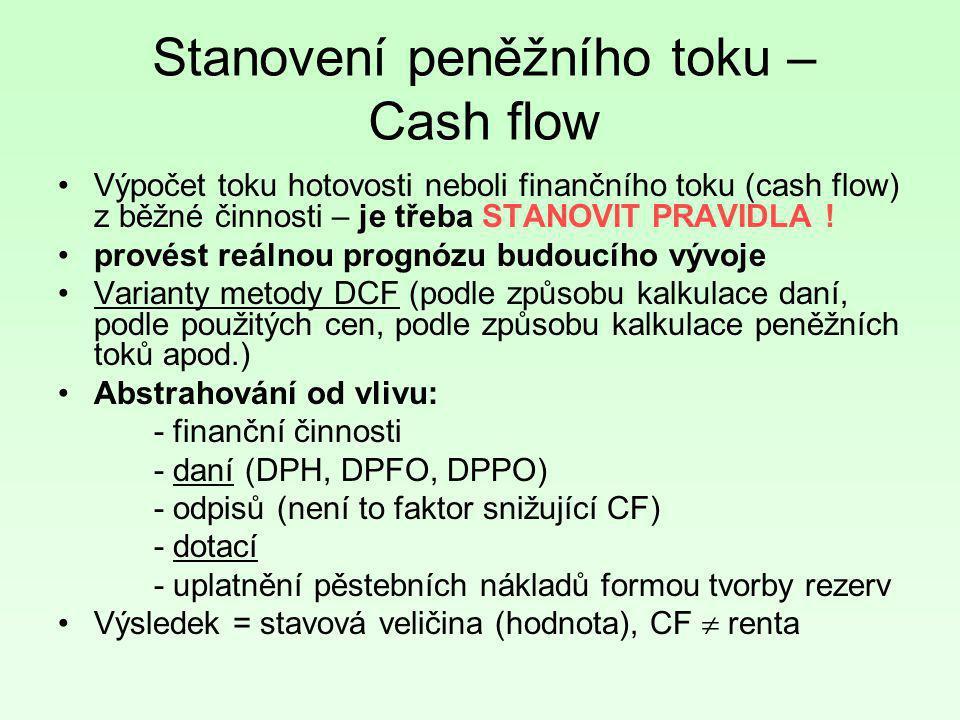 Stanovení peněžního toku – Cash flow •Výpočet toku hotovosti neboli finančního toku (cash flow) z běžné činnosti – je třeba STANOVIT PRAVIDLA ! •prové