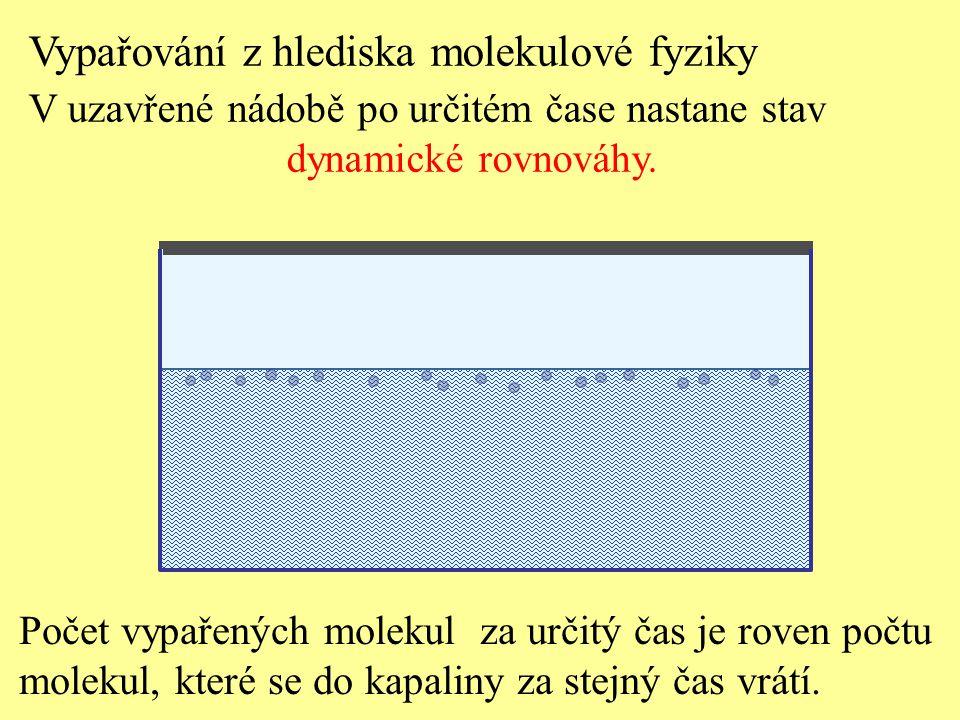 Počet vypařených molekul za určitý čas je roven počtu molekul, které se do kapaliny za stejný čas vrátí. Vypařování z hlediska molekulové fyziky V uza