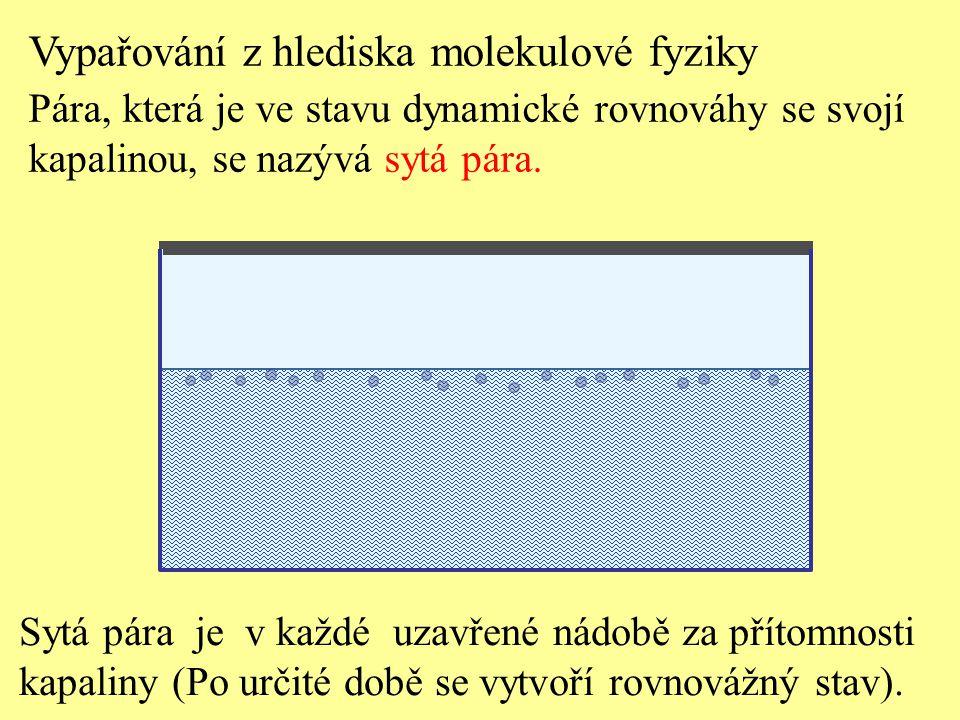 Vypařování z hlediska molekulové fyziky Pára, která je ve stavu dynamické rovnováhy se svojí kapalinou, se nazývá sytá pára. Sytá pára je v každé uzav