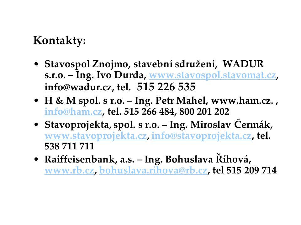 Kontakty: •Stavospol Znojmo, stavební sdružení, WADUR s.r.o. – Ing. Ivo Durda, www.stavospol.stavomat.cz, info@wadur.cz, tel. 515 226 535www.stavospol