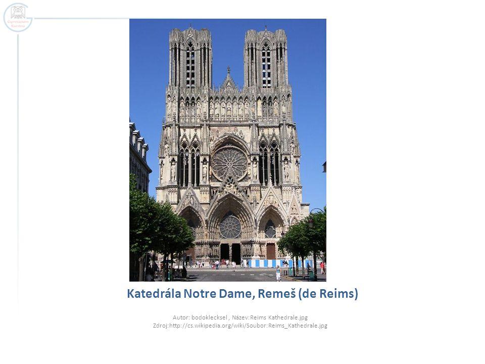 Katedrála Notre Dame, Remeš (de Reims) Autor: bodoklecksel, Název:Reims Kathedrale.jpg Zdroj:http://cs.wikipedia.org/wiki/Soubor:Reims_Kathedrale.jpg