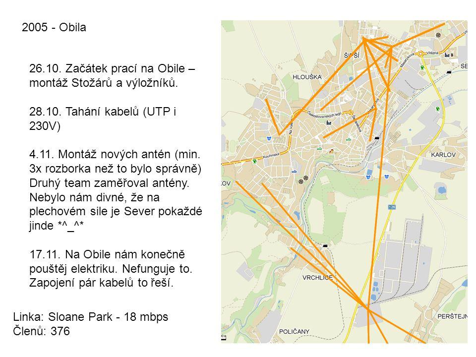 2005 - Obila 26.10. Začátek prací na Obile – montáž Stožárů a výložníků. 28.10. Tahání kabelů (UTP i 230V) 4.11. Montáž nových antén (min. 3x rozborka