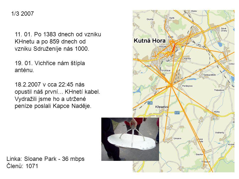 1/3 2007 Linka: Sloane Park - 36 mbps Členů: 1071 11. 01. Po 1383 dnech od vzniku KHnetu a po 859 dnech od vzniku Sdruženíje nás 1000. 19. 01. Vichřic