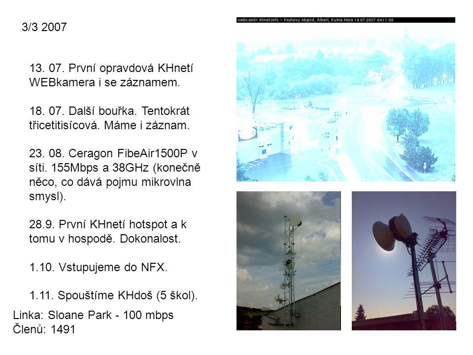 3/3 2007 Linka: Sloane Park - 100 mbps Členů: 1491 13. 07. První opravdová KHnetí WEBkamera i se záznamem. 18. 07. Další bouřka. Tentokrát třicetitisí