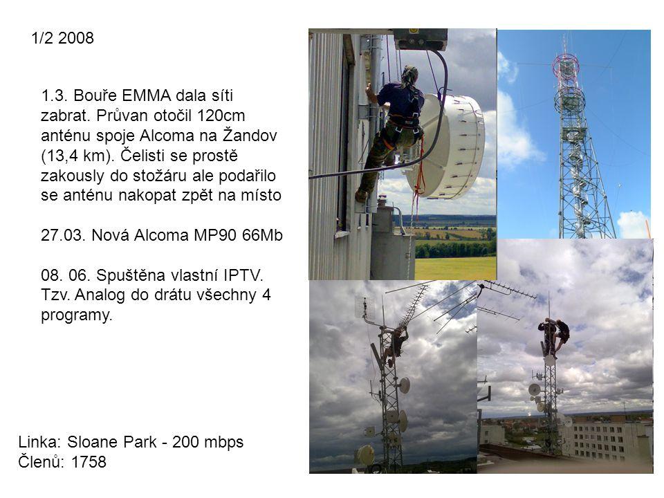 1/2 2008 Linka: Sloane Park - 200 mbps Členů: 1758 1.3. Bouře EMMA dala síti zabrat. Průvan otočil 120cm anténu spoje Alcoma na Žandov (13,4 km). Čeli