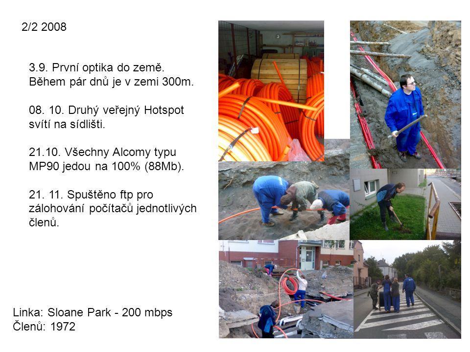 2/2 2008 Linka: Sloane Park - 200 mbps Členů: 1972 3.9. První optika do země. Během pár dnů je v zemi 300m. 08. 10. Druhý veřejný Hotspot svítí na síd