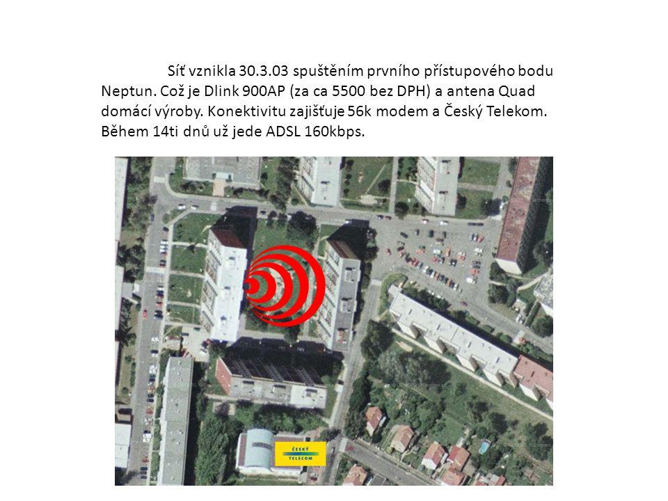 Síť vznikla 30.3.03 spuštěním prvního přístupového bodu Neptun. Což je Dlink 900AP (za ca 5500 bez DPH) a antena Quad domácí výroby. Konektivitu zajiš