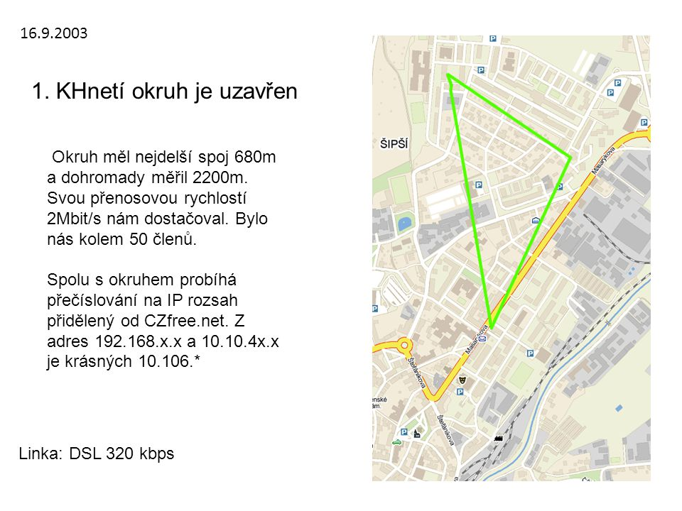 16.9.2003 1. KHnetí okruh je uzavřen Okruh měl nejdelší spoj 680m a dohromady měřil 2200m. Svou přenosovou rychlostí 2Mbit/s nám dostačoval. Bylo nás