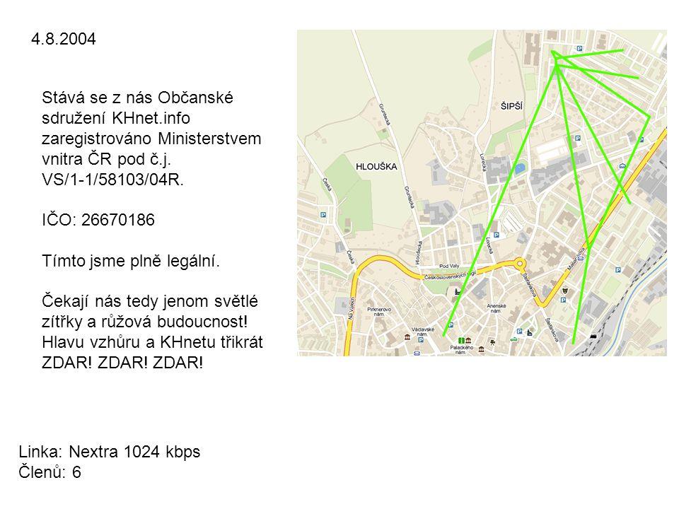 4.8.2004 Stává se z nás Občanské sdružení KHnet.info zaregistrováno Ministerstvem vnitra ČR pod č.j. VS/1-1/58103/04R. IČO: 26670186 Tímto jsme plně l