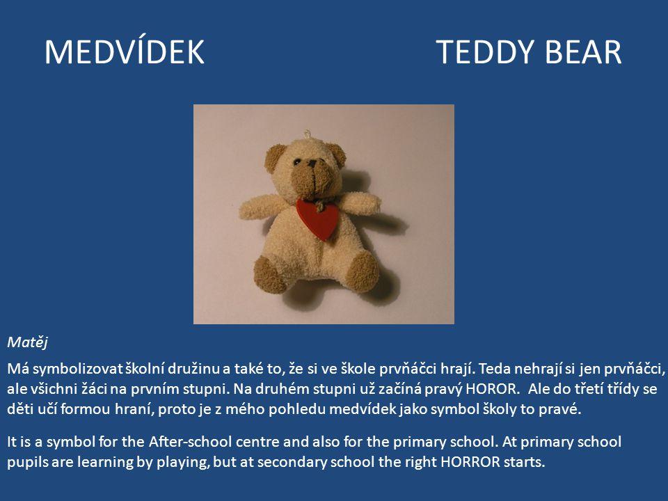 MEDVÍDEK TEDDY BEAR Matěj Má symbolizovat školní družinu a také to, že si ve škole prvňáčci hrají.