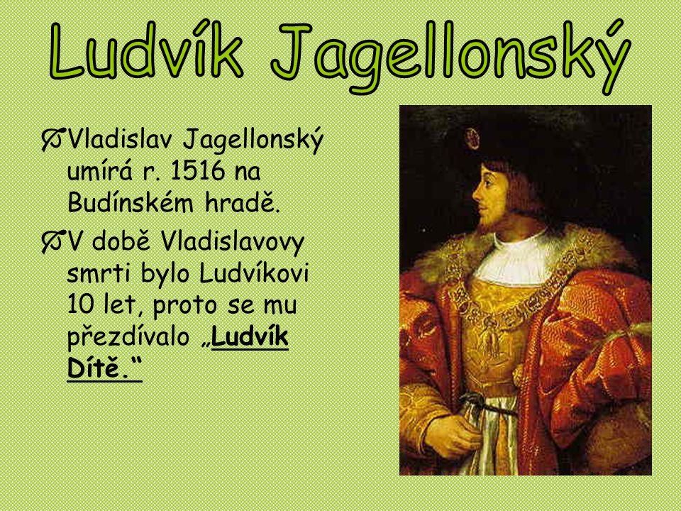 """ Vladislav Jagellonský umírá r. 1516 na Budínském hradě.  V době Vladislavovy smrti bylo Ludvíkovi 10 let, proto se mu přezdívalo """"Ludvík Dítě."""""""