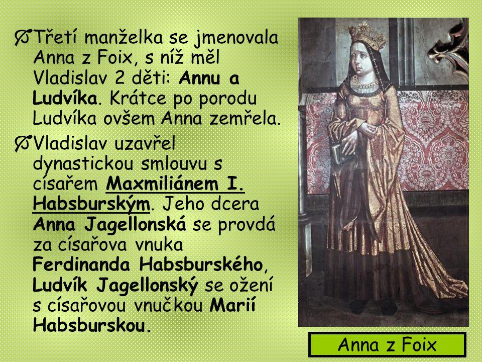  Třetí manželka se jmenovala Anna z Foix, s níž měl Vladislav 2 děti: Annu a Ludvíka. Krátce po porodu Ludvíka ovšem Anna zemřela.  Vladislav uzavře