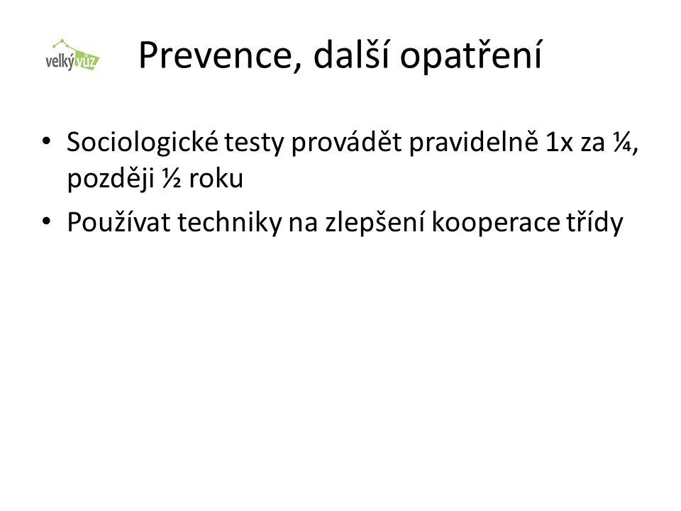 Prevence, další opatření • Sociologické testy provádět pravidelně 1x za ¼, později ½ roku • Používat techniky na zlepšení kooperace třídy