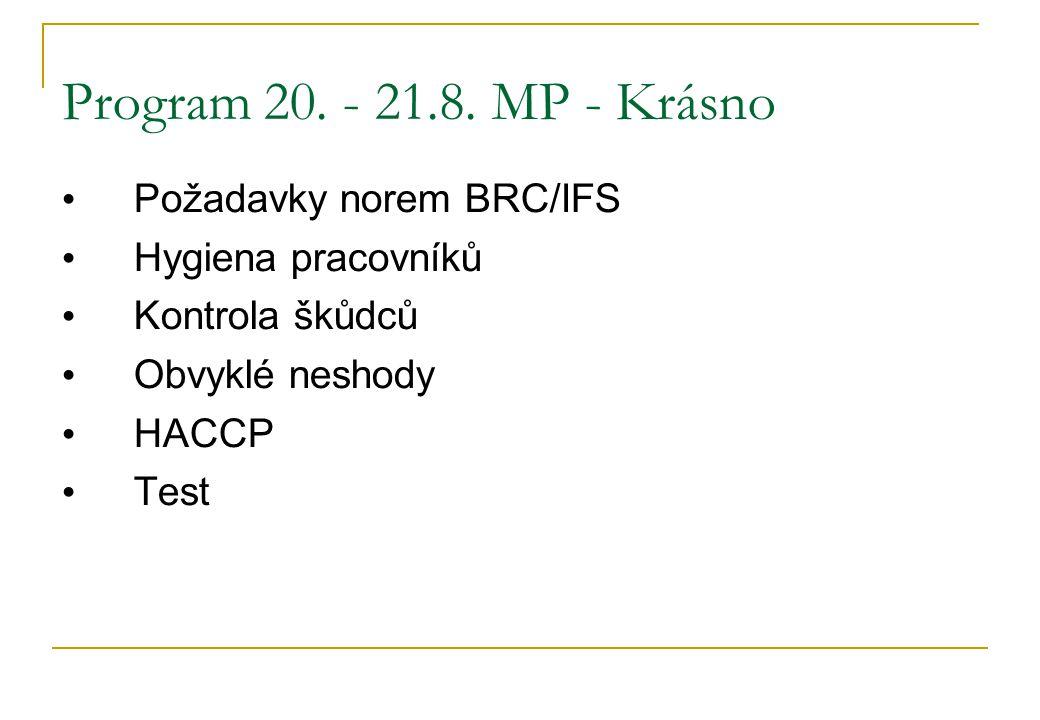 Program 20. - 21.8. MP - Krásno • Požadavky norem BRC/IFS • Hygiena pracovníků • Kontrola škůdců • Obvyklé neshody • HACCP • Test
