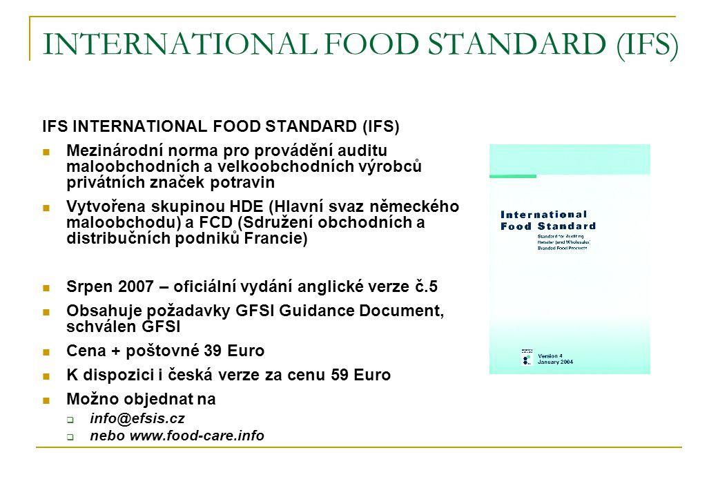 INTERNATIONAL FOOD STANDARD (IFS) IFS INTERNATIONAL FOOD STANDARD (IFS)  Mezinárodní norma pro provádění auditu maloobchodních a velkoobchodních výro