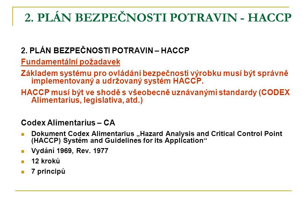 2. PLÁN BEZPEČNOSTI POTRAVIN - HACCP 2. PLÁN BEZPEČNOSTI POTRAVIN – HACCP Fundamentální požadavek Základem systému pro ovládání bezpečnosti výrobku mu