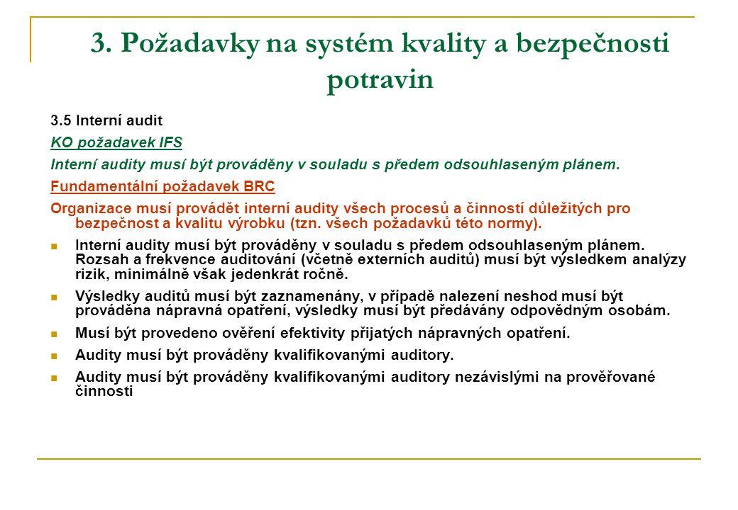 3. Požadavky na systém kvality a bezpečnosti potravin 3.5 Interní audit KO požadavek IFS Interní audity musí být prováděny v souladu s předem odsouhla