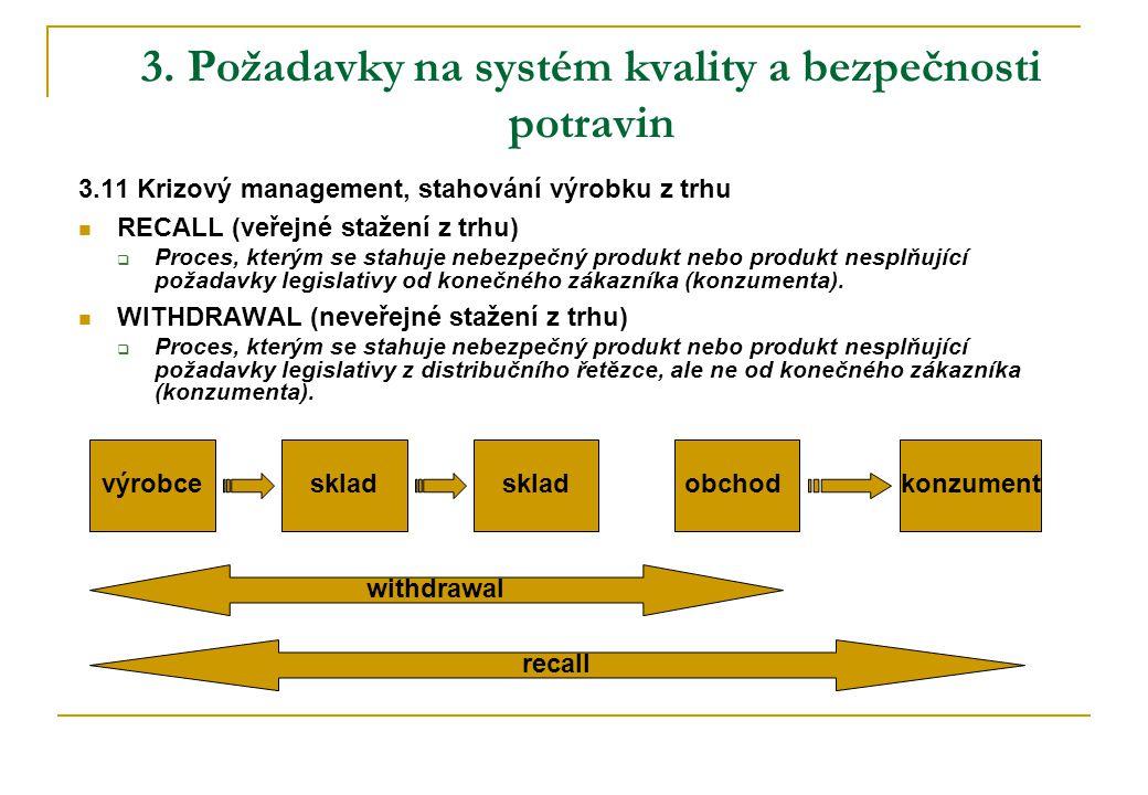 3. Požadavky na systém kvality a bezpečnosti potravin 3.11 Krizový management, stahování výrobku z trhu  RECALL (veřejné stažení z trhu)  Proces, kt