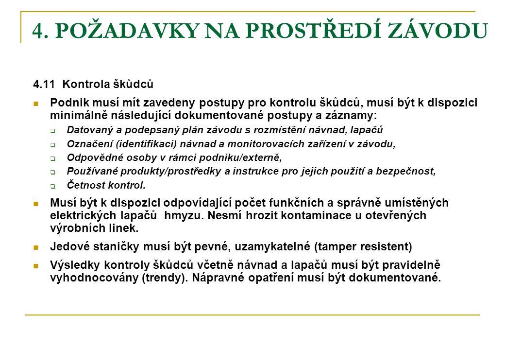 4. POŽADAVKY NA PROSTŘEDÍ ZÁVODU 4.11 Kontrola škůdců  Podnik musí mít zavedeny postupy pro kontrolu škůdců, musí být k dispozici minimálně následují