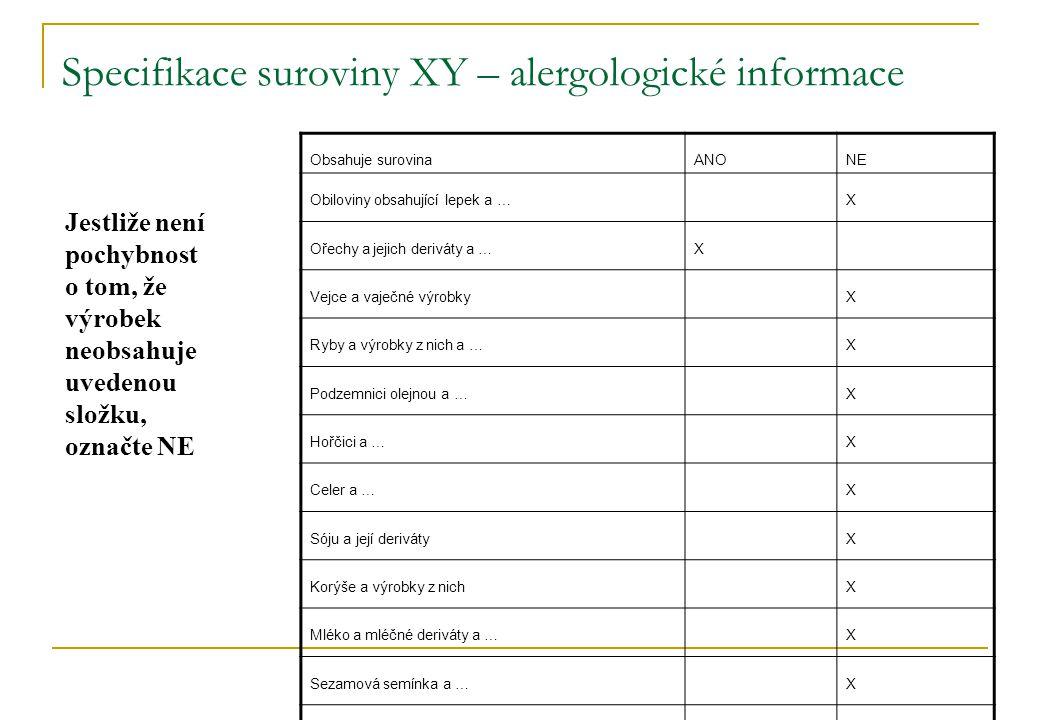 Specifikace suroviny XY – alergologické informace Obsahuje surovinaANONE Obiloviny obsahující lepek a …X Ořechy a jejich deriváty a …X Vejce a vaječné