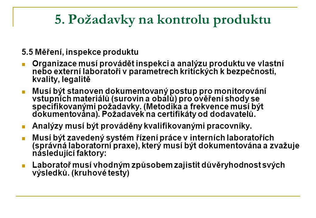 5. Požadavky na kontrolu produktu 5.5 Měření, inspekce produktu  Organizace musí provádět inspekci a analýzu produktu ve vlastní nebo externí laborat