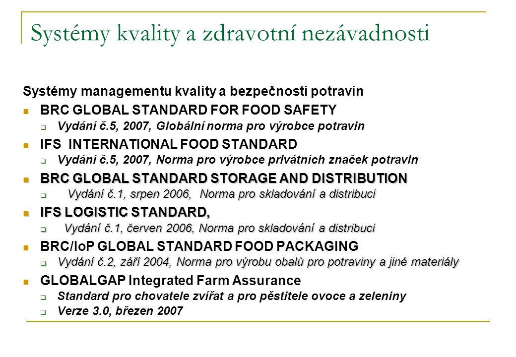 Systémy kvality a zdravotní nezávadnosti Systémy managementu kvality a bezpečnosti potravin  BRC GLOBAL STANDARD FOR FOOD SAFETY  Vydání č.5, 2007,