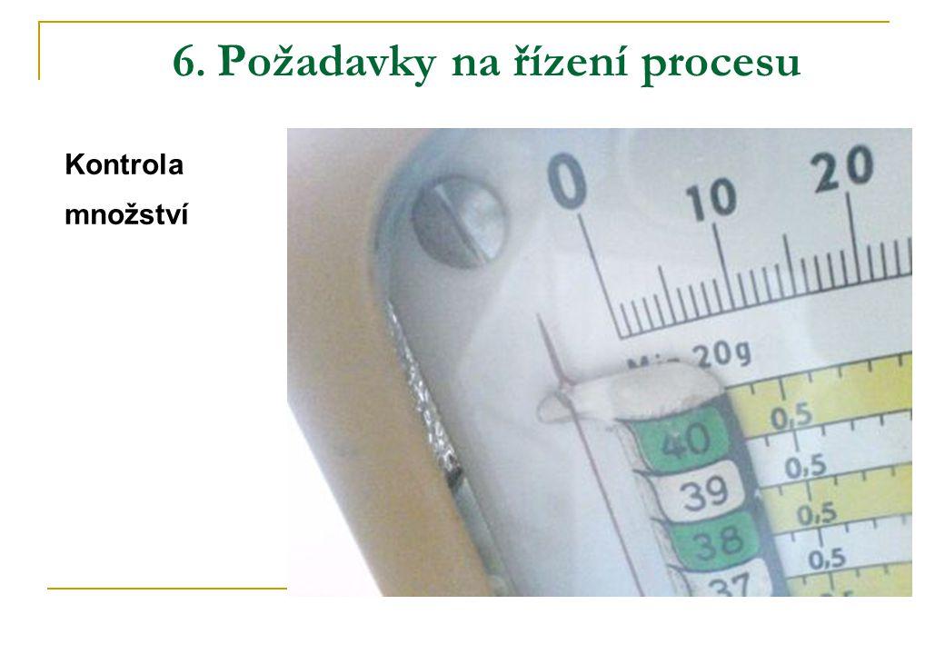 6. Požadavky na řízení procesu Kontrola množství