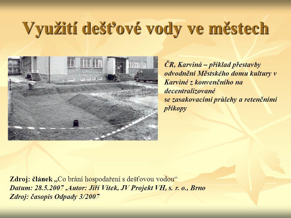 Využití dešťové vody ve městech ČR, Karviná – příklad přestavby odvodnění Městského domu kultury v Karviné z konvenčního na decentralizované se zasako