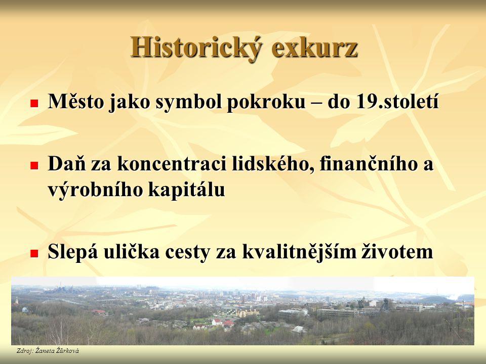 Historický exkurz  Město jako symbol pokroku – do 19.století  Daň za koncentraci lidského, finančního a výrobního kapitálu  Slepá ulička cesty za k
