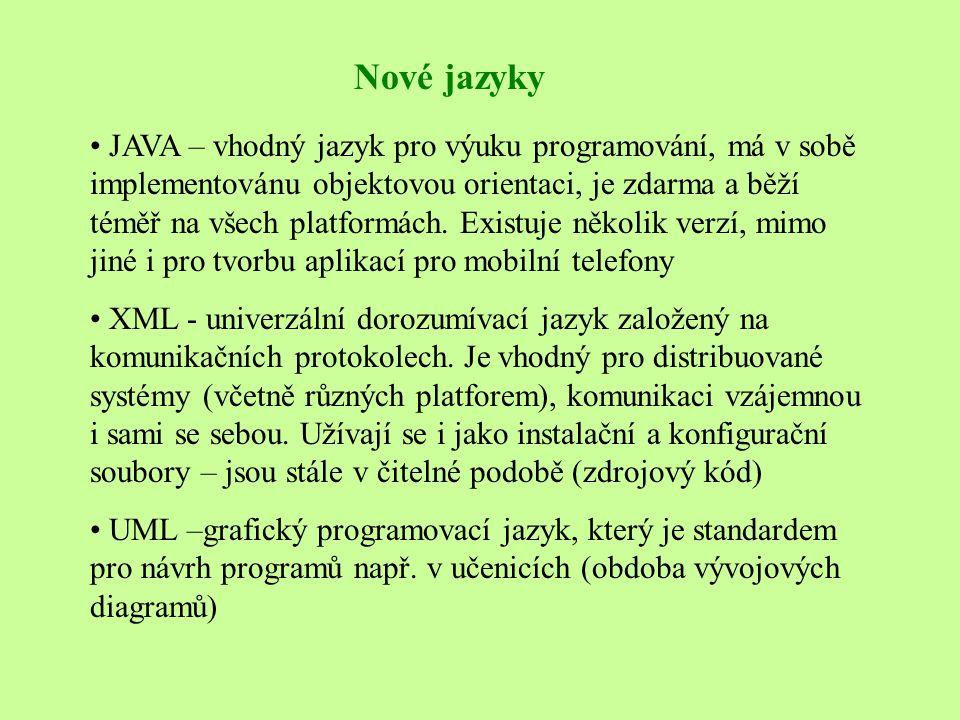 Nové jazyky • JAVA – vhodný jazyk pro výuku programování, má v sobě implementovánu objektovou orientaci, je zdarma a běží téměř na všech platformách.
