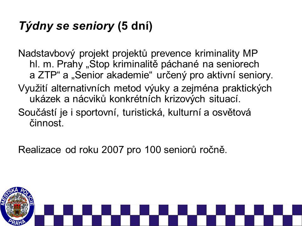 Týdny se seniory (5 dní) Nadstavbový projekt projektů prevence kriminality MP hl.