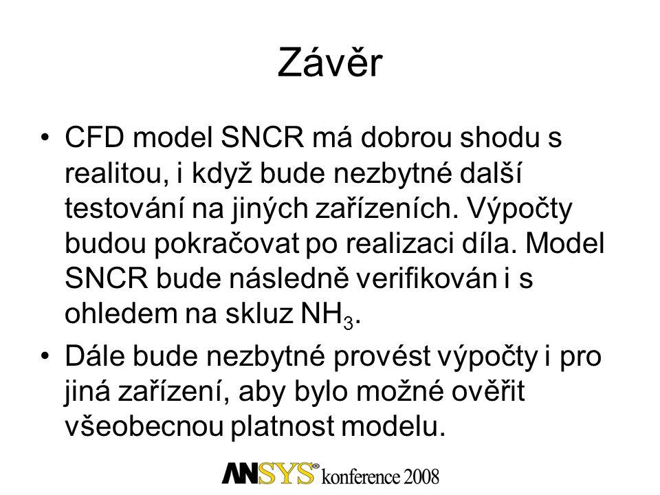 Závěr •CFD model SNCR má dobrou shodu s realitou, i když bude nezbytné další testování na jiných zařízeních. Výpočty budou pokračovat po realizaci díl