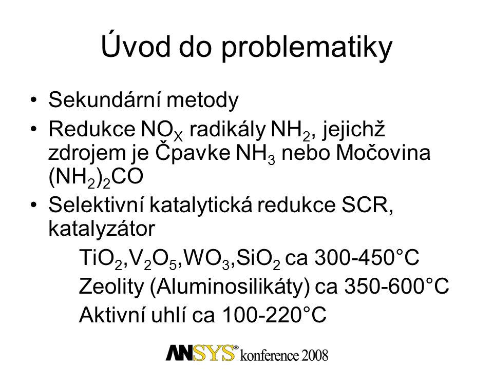 Úvod do problematiky •Sekundární metody •Redukce NO X radikály NH 2, jejichž zdrojem je Čpavke NH 3 nebo Močovina (NH 2 ) 2 CO •Selektivní katalytická