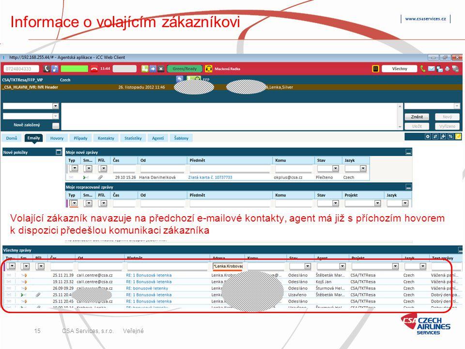CSA Services, s.r.o. 15 CSA Services, s.r.o. Veřejné Informace o volajícím zákazníkovi Volající zákazník navazuje na předchozí e-mailové kontakty, age