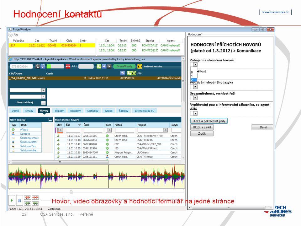 CSA Services, s.r.o. 23 CSA Services, s.r.o. Veřejné Hodnocení kontaktů Hovor, video obrazovky a hodnotící formulář na jedné stránce