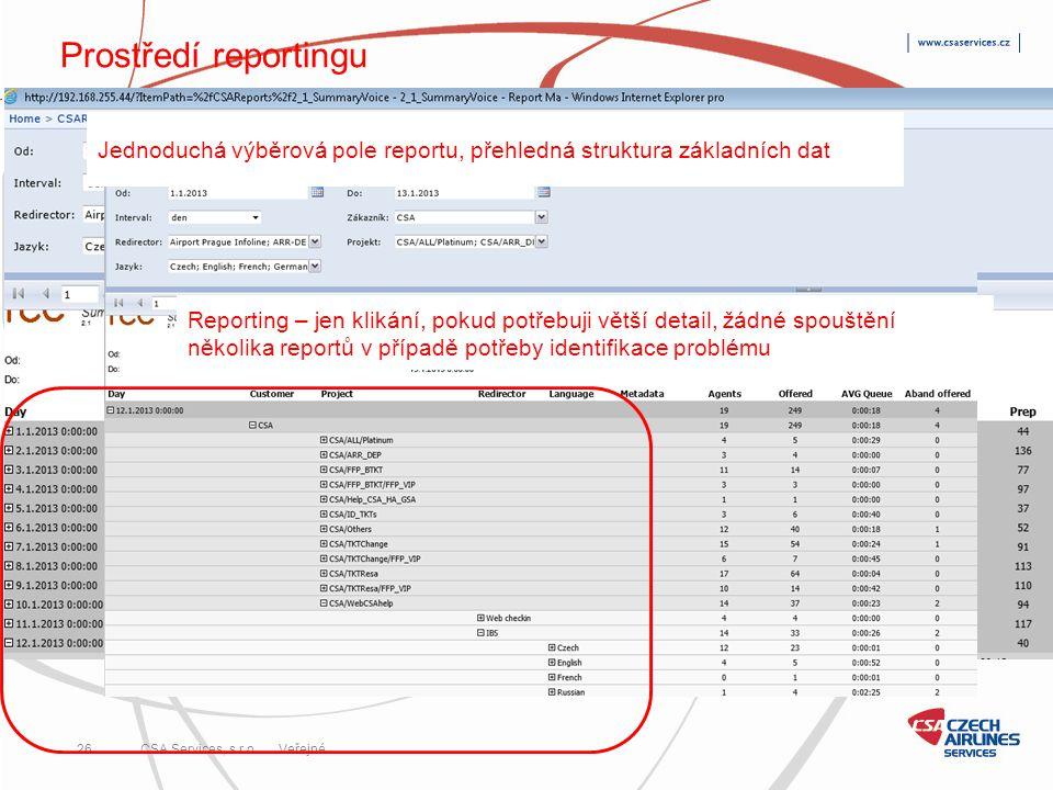 CSA Services, s.r.o. 26 CSA Services, s.r.o. Veřejné Prostředí reportingu Reporting – jen klikání, pokud potřebuji větší detail, žádné spouštění někol